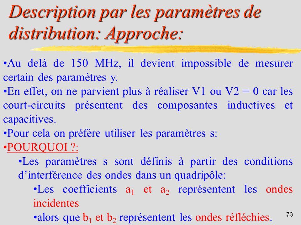 Description par les paramètres de distribution: Approche: