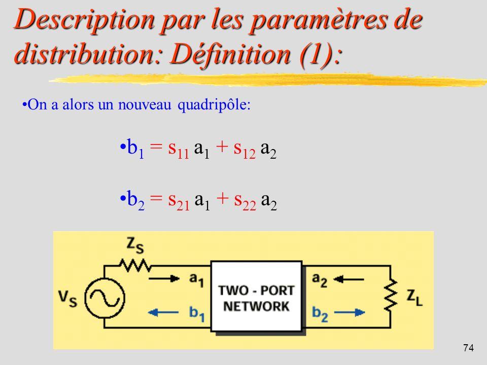 Description par les paramètres de distribution: Définition (1):