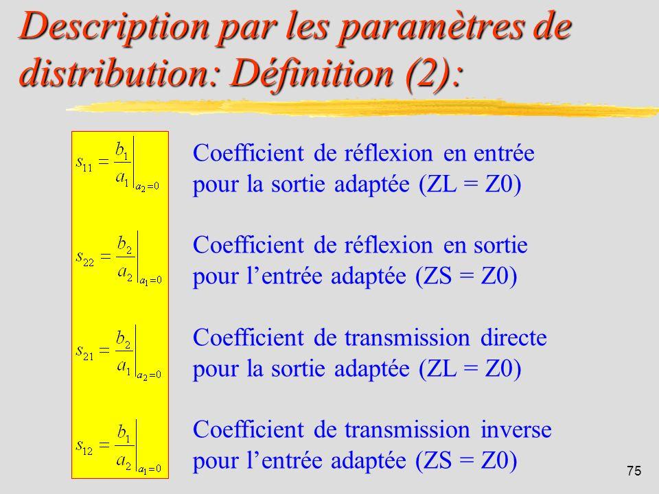 Description par les paramètres de distribution: Définition (2):