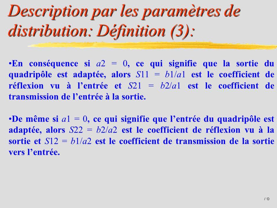 Description par les paramètres de distribution: Définition (3):
