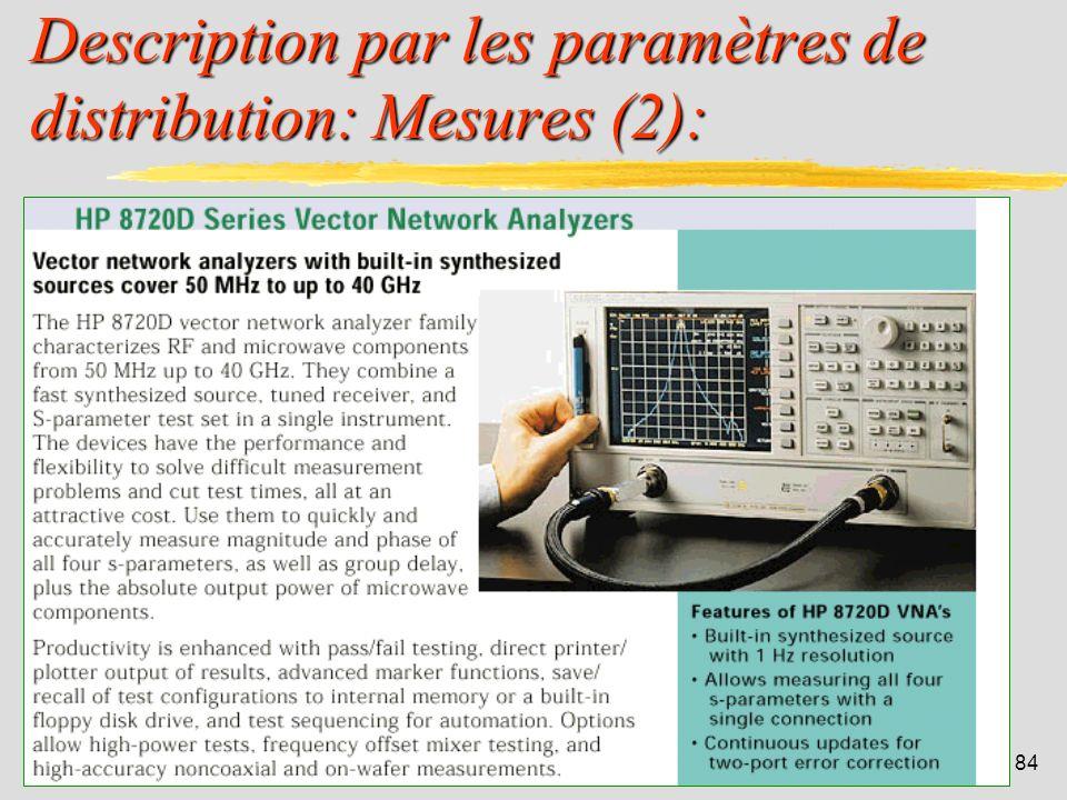 Description par les paramètres de distribution: Mesures (2):