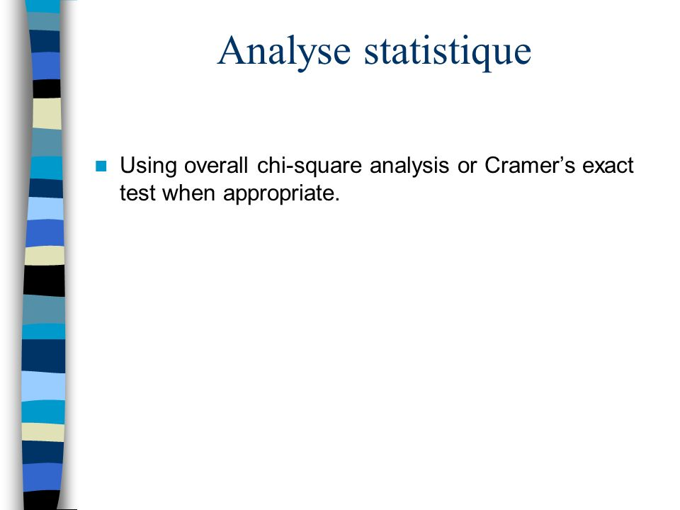 Analyse statistique Using overall chi-square analysis or Cramer's exact test when appropriate.