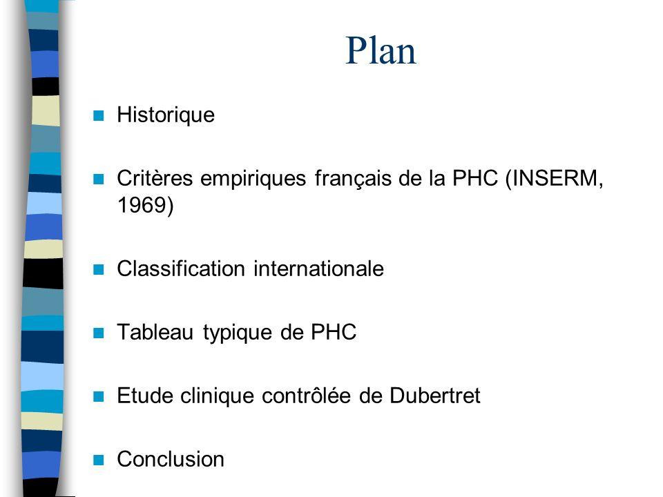 Plan Historique Critères empiriques français de la PHC (INSERM, 1969)