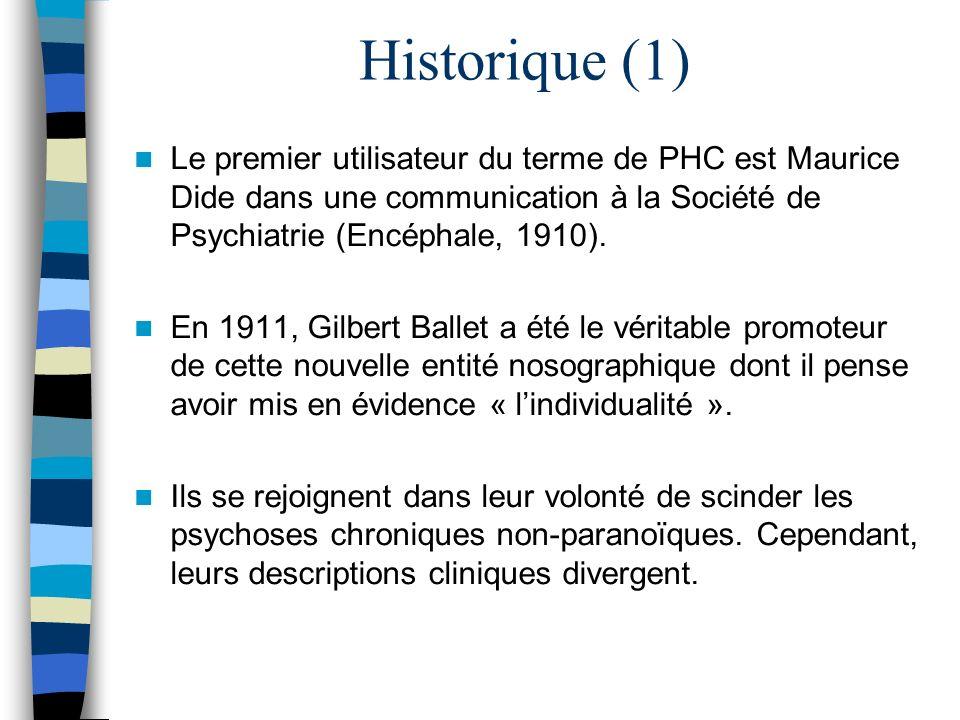 Historique (1) Le premier utilisateur du terme de PHC est Maurice Dide dans une communication à la Société de Psychiatrie (Encéphale, 1910).