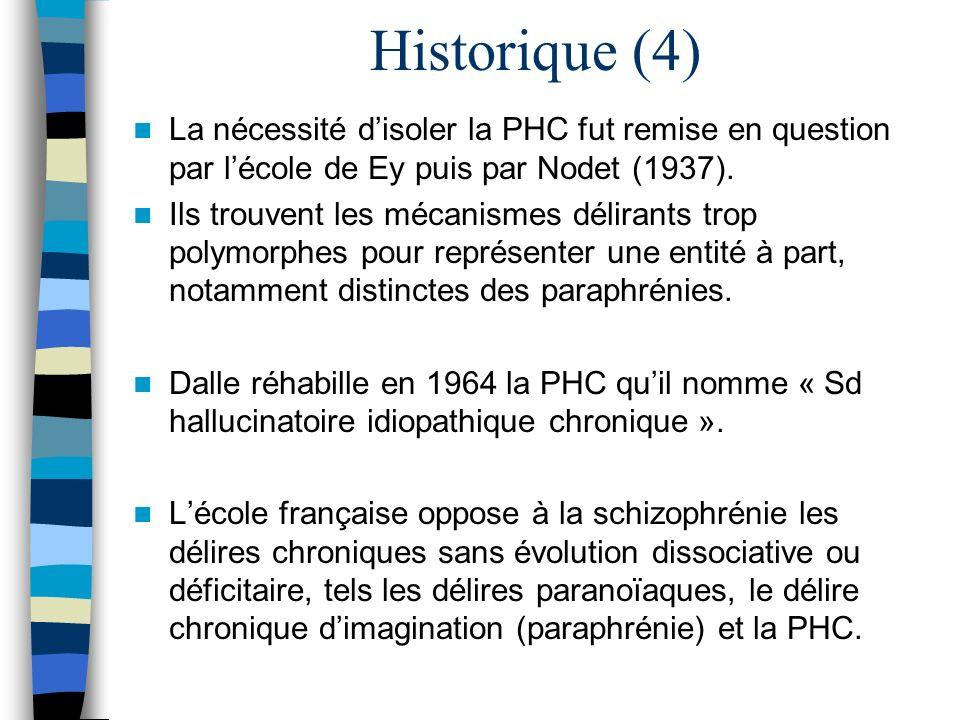 Historique (4) La nécessité d'isoler la PHC fut remise en question par l'école de Ey puis par Nodet (1937).