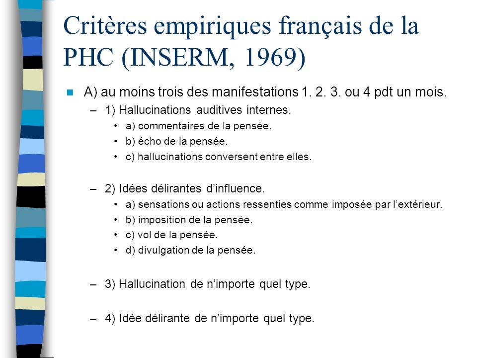 Critères empiriques français de la PHC (INSERM, 1969)