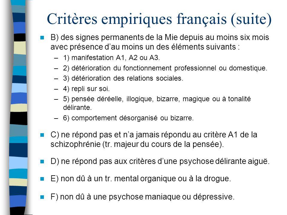 Critères empiriques français (suite)