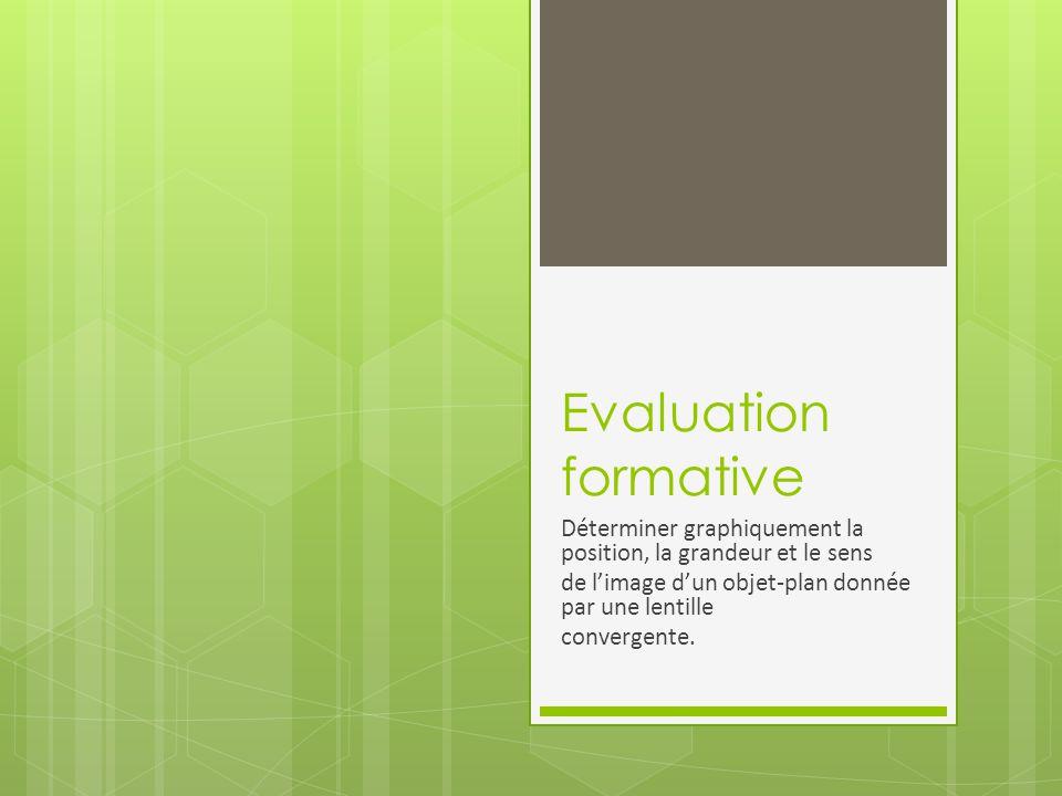 Evaluation formative Déterminer graphiquement la position, la grandeur et le sens. de l'image d'un objet-plan donnée par une lentille.