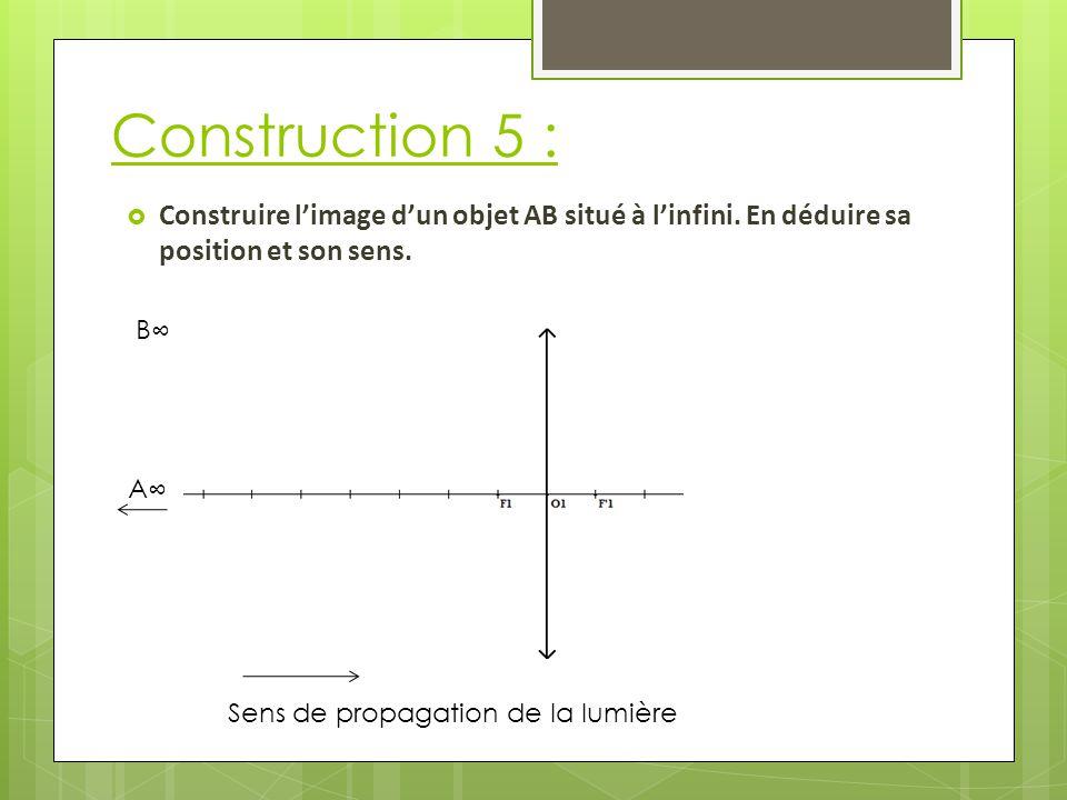 Construction 5 : Construire l'image d'un objet AB situé à l'infini. En déduire sa position et son sens.