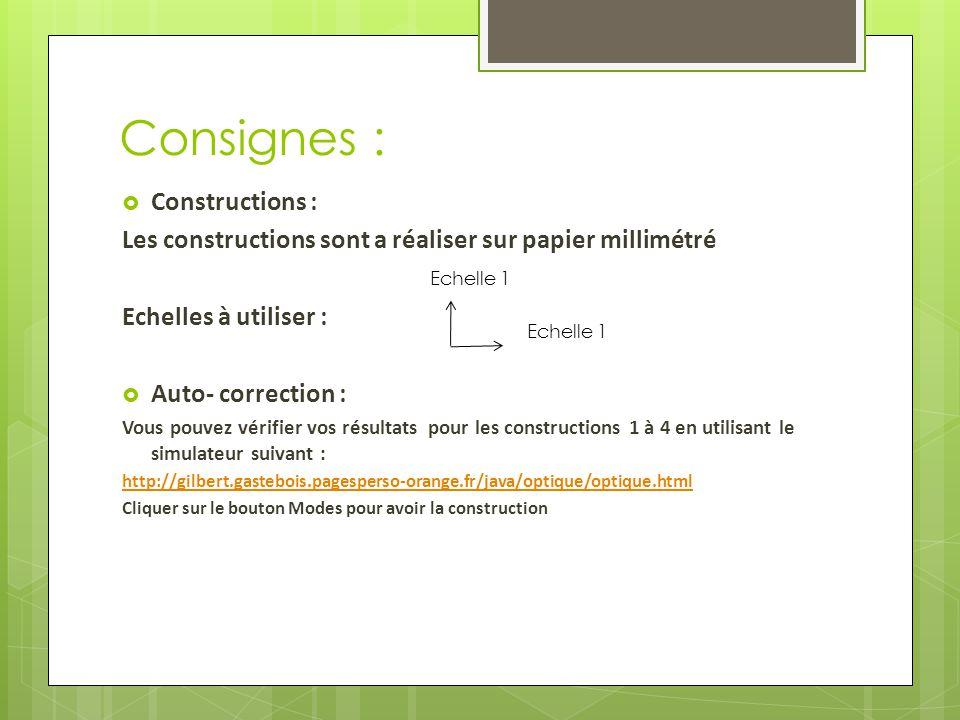 Consignes : Constructions :