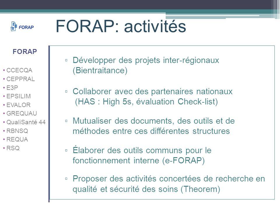 FORAP: activités FORAP. CCECQA. CEPPRAL. E3P. EPSILIM. EVALOR. GREQUAU. QualiSanté 44. RBNSQ.