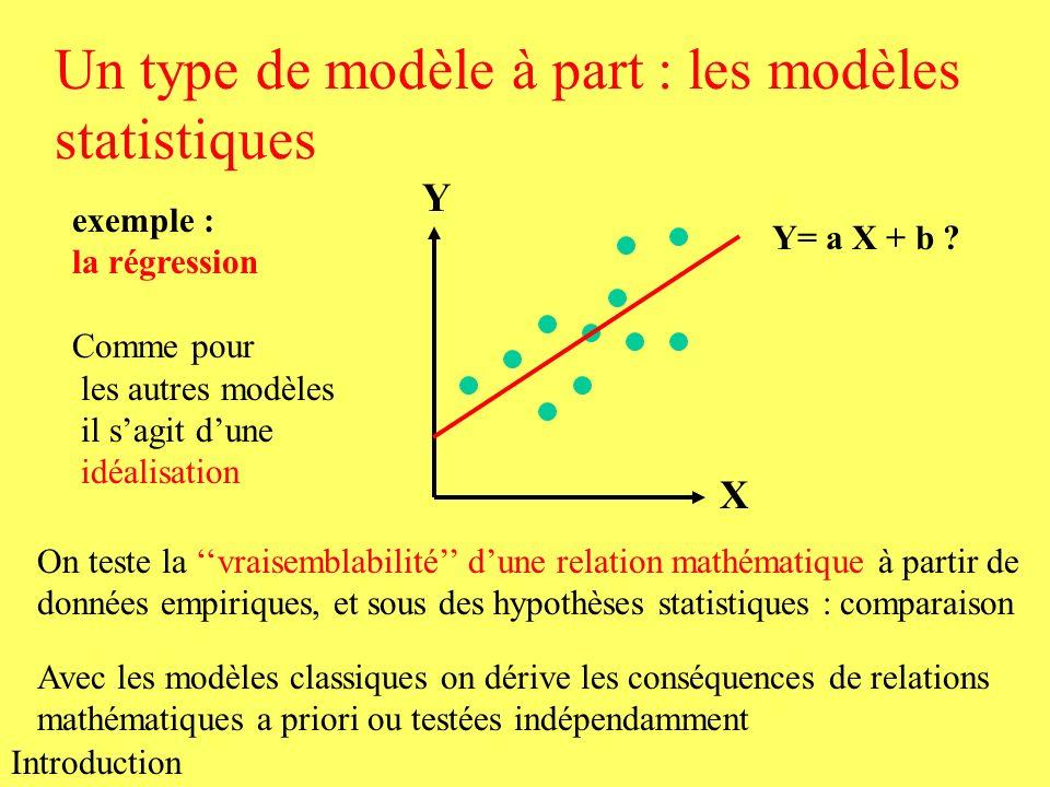 Un type de modèle à part : les modèles statistiques