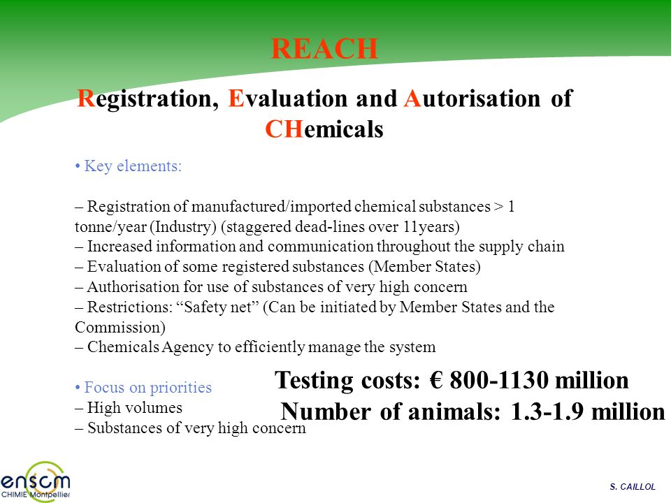 Registration, Evaluation and Autorisation of CHemicals