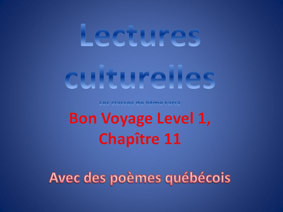 Les classes de Mme Faria Avec des poèmes québécois