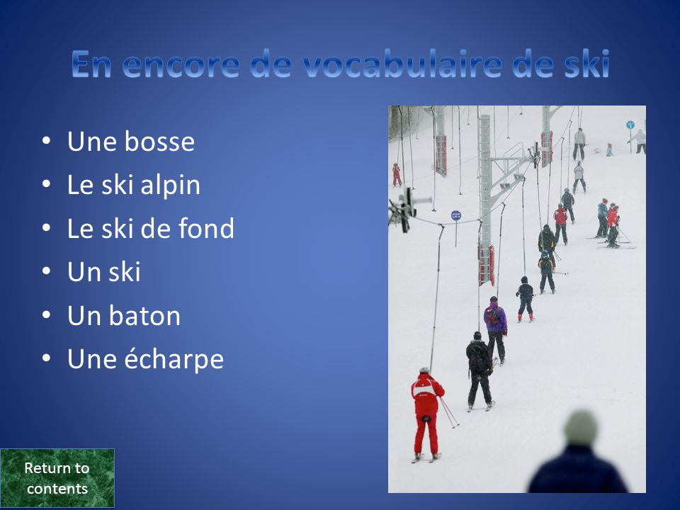 En encore de vocabulaire de ski
