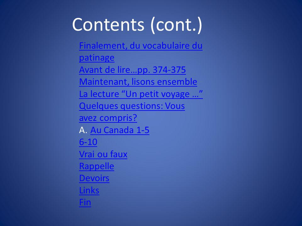 Contents (cont.) Finalement, du vocabulaire du patinage