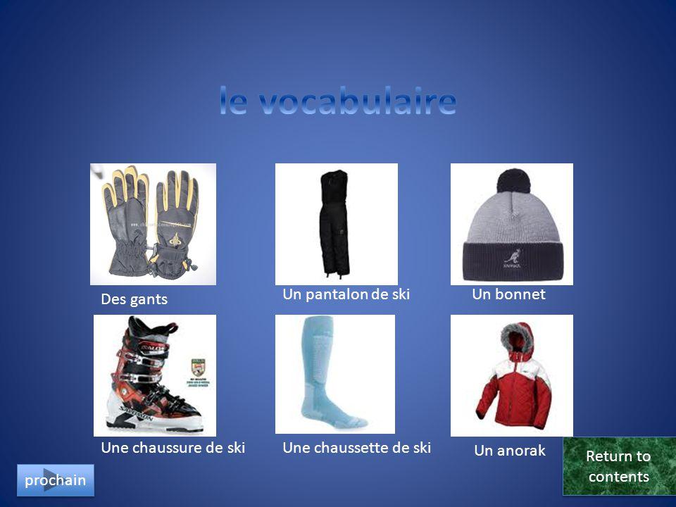 le vocabulaire Un pantalon de ski Un bonnet Des gants
