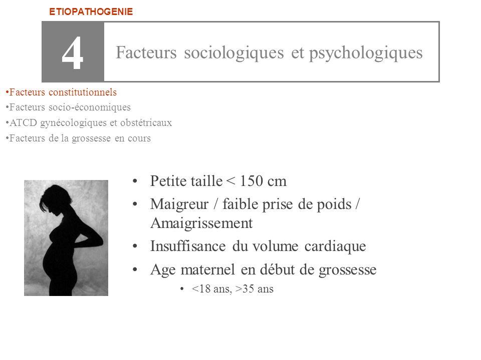 4 Facteurs sociologiques et psychologiques Petite taille < 150 cm