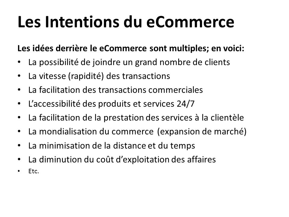 Les Intentions du eCommerce