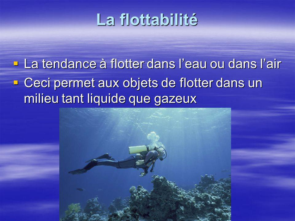 La flottabilité La tendance à flotter dans l'eau ou dans l'air