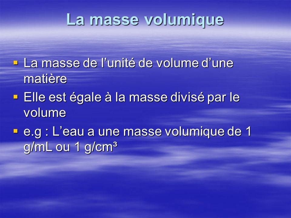 La masse volumique La masse de l'unité de volume d'une matière