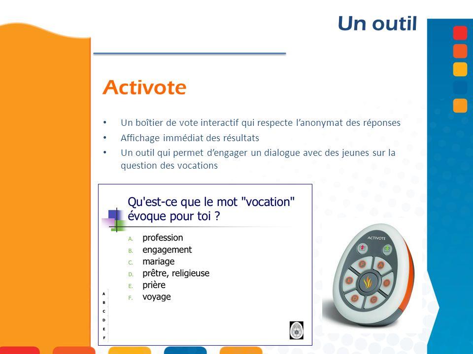 Un outil Activote. Un boîtier de vote interactif qui respecte l'anonymat des réponses. Affichage immédiat des résultats.