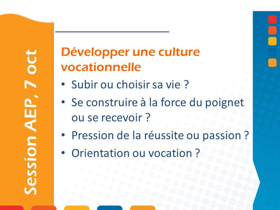 Développer une culture vocationnelle
