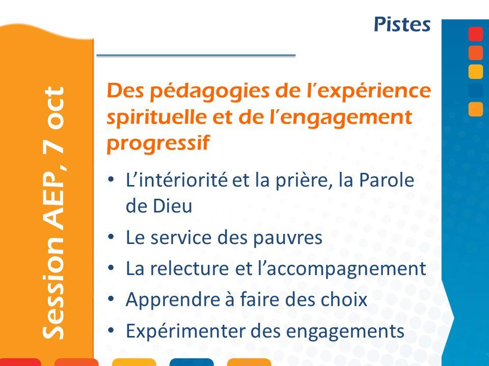 PistesDes pédagogies de l'expérience spirituelle et de l'engagement progressif. L'intériorité et la prière, la Parole de Dieu.