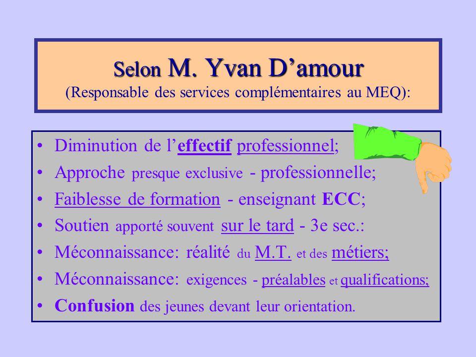 Selon M. Yvan D'amour (Responsable des services complémentaires au MEQ):