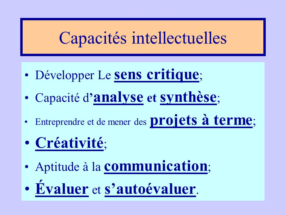 Capacités intellectuelles