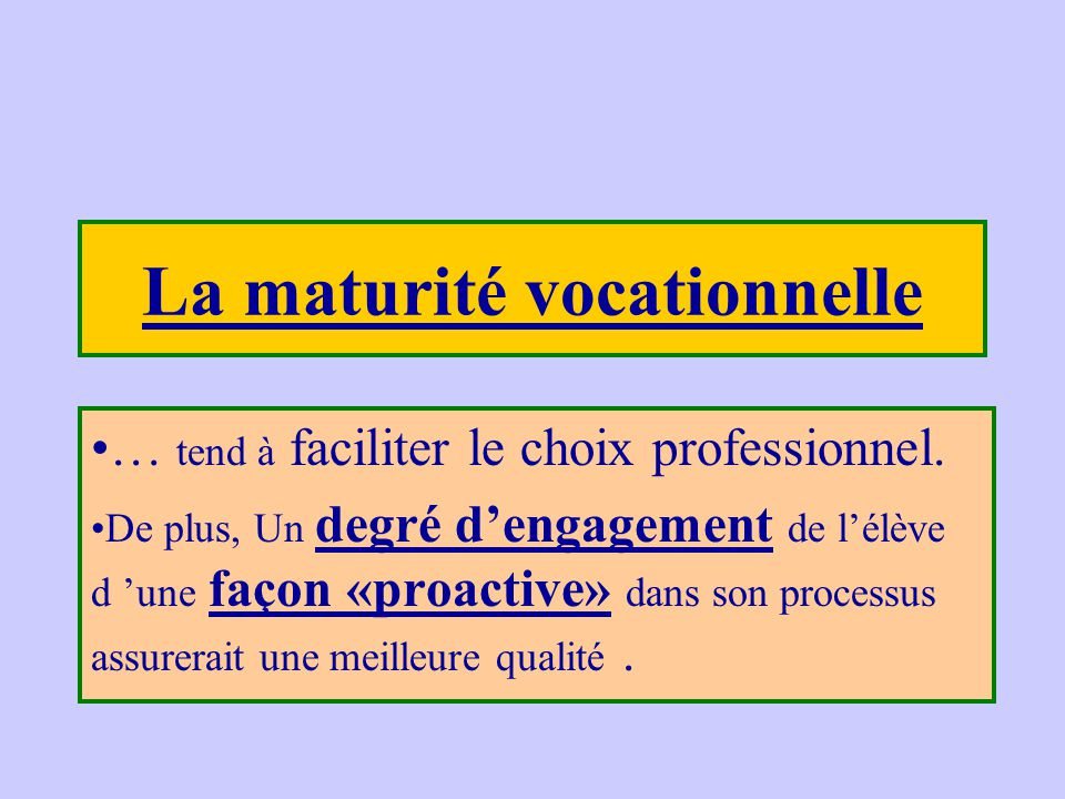 La maturité vocationnelle