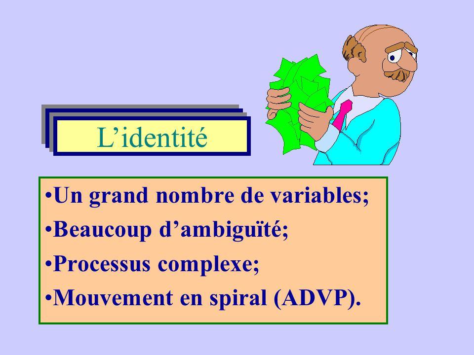 L'identité L'identité Un grand nombre de variables;