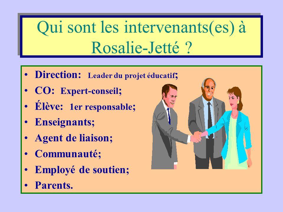 Qui sont les intervenants(es) à Rosalie-Jetté