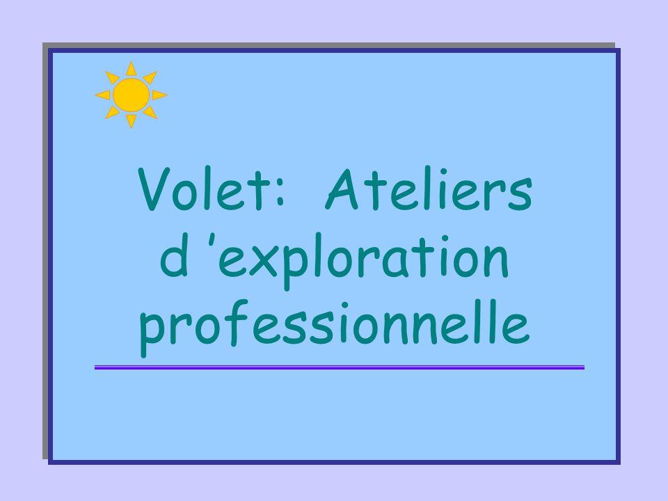 Volet: Ateliers d 'exploration professionnelle
