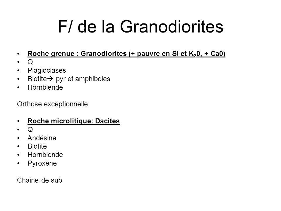 F/ de la Granodiorites Roche grenue : Granodiorites (+ pauvre en Si et K20, + Ca0) Q. Plagioclases.