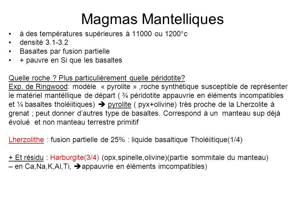 Magmas Mantelliques à des températures supérieures à 11000 ou 1200°c