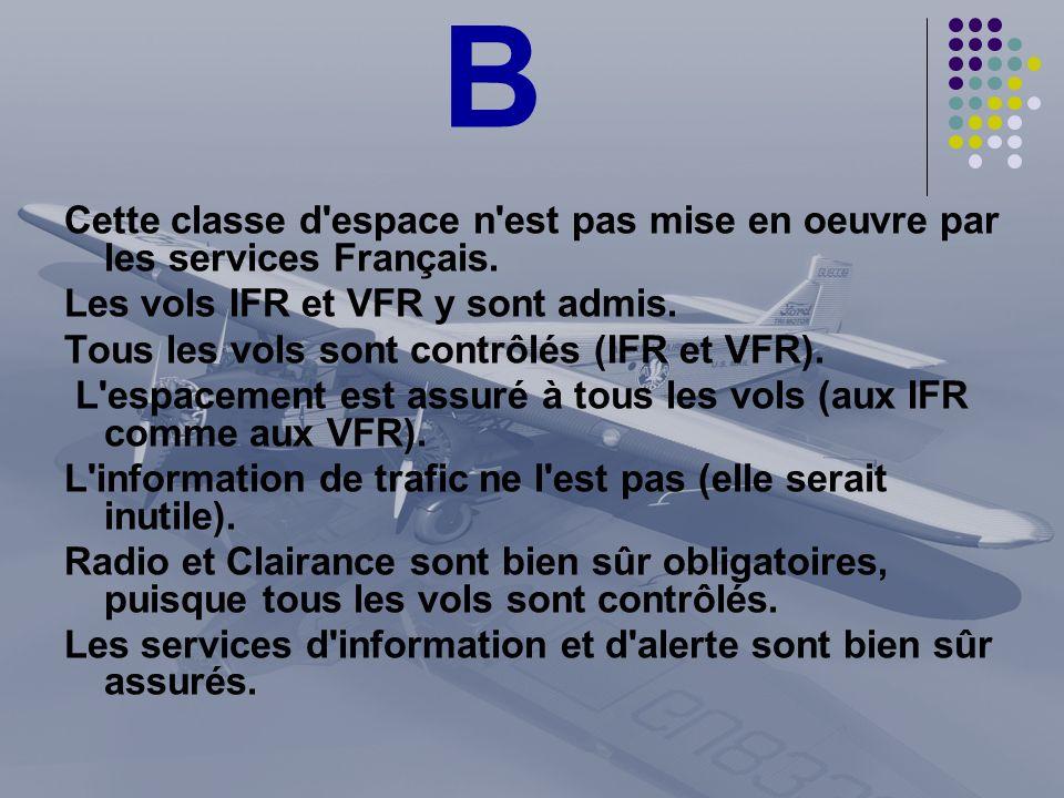 BCette classe d espace n est pas mise en oeuvre par les services Français. Les vols IFR et VFR y sont admis.