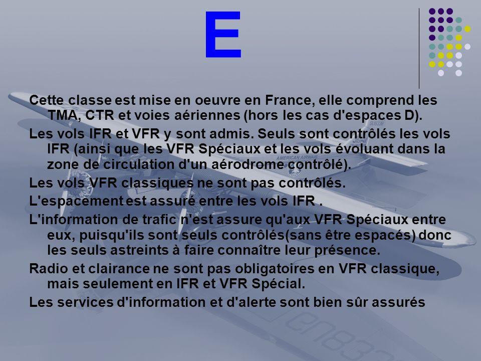 E Cette classe est mise en oeuvre en France, elle comprend les TMA, CTR et voies aériennes (hors les cas d espaces D).