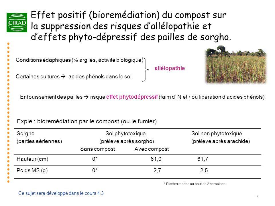 Effet positif (bioremédiation) du compost sur la suppression des risques d'allélopathie et d'effets phyto-dépressif des pailles de sorgho.
