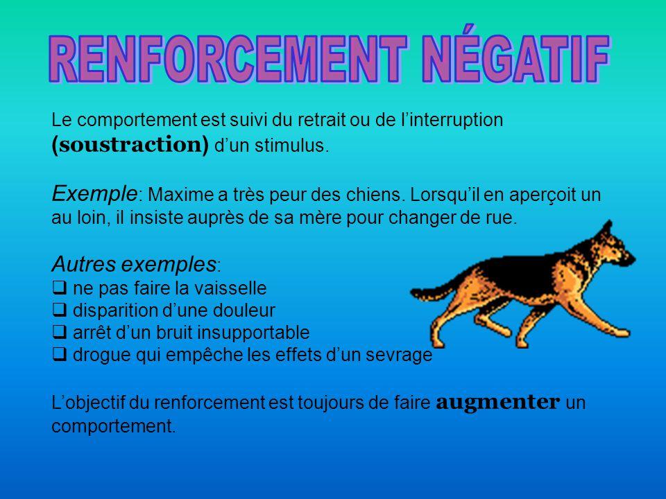 RENFORCEMENT NÉGATIF Le comportement est suivi du retrait ou de l'interruption (soustraction) d'un stimulus.