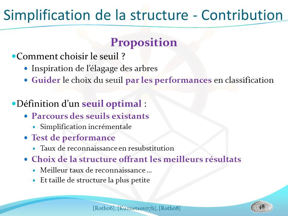 Simplification de la structure - Contribution