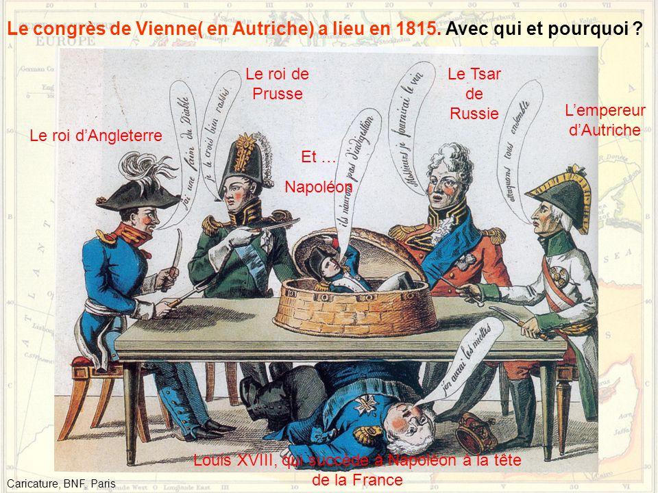 Le congrès de Vienne( en Autriche) a lieu en 1815. Avec qui et pourquoi