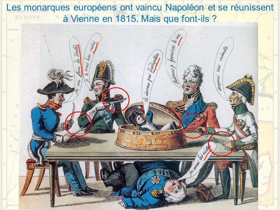 Les monarques européens ont vaincu Napoléon et se réunissent à Vienne en 1815. Mais que font-ils