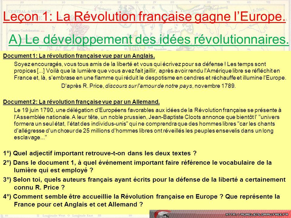 Leçon 1: La Révolution française gagne l'Europe.