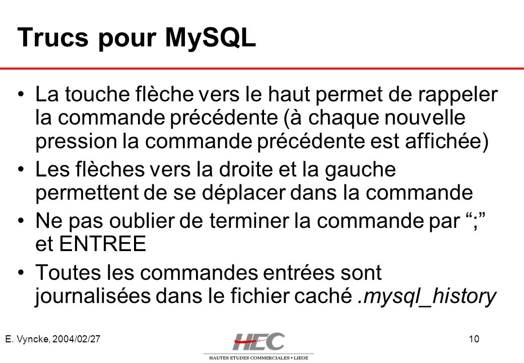 Trucs pour MySQL
