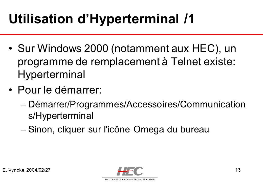 Utilisation d'Hyperterminal /1