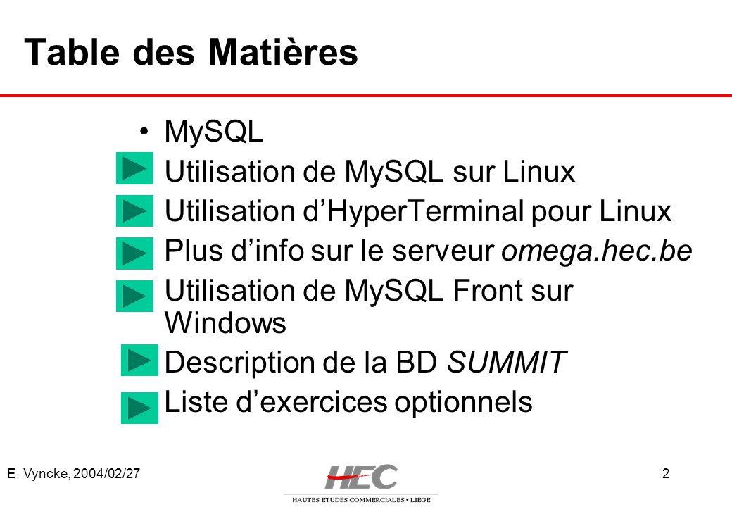 Table des Matières MySQL Utilisation de MySQL sur Linux