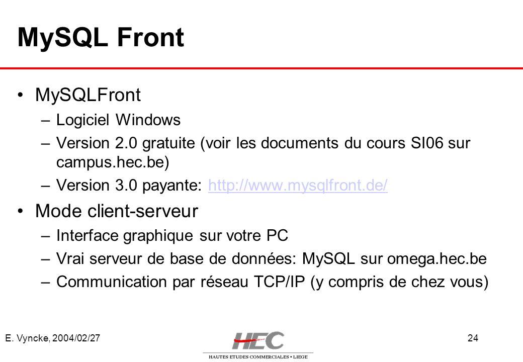 MySQL Front MySQLFront Mode client-serveur Logiciel Windows