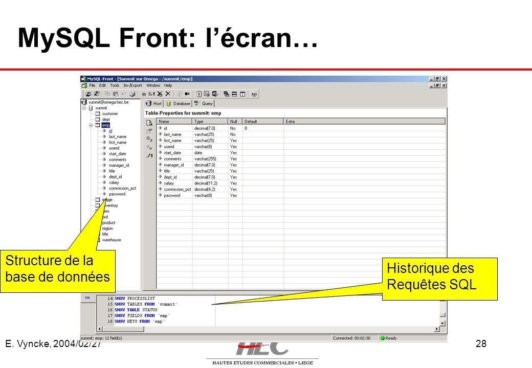 MySQL Front: l'écran… Structure de la base de données Historique des
