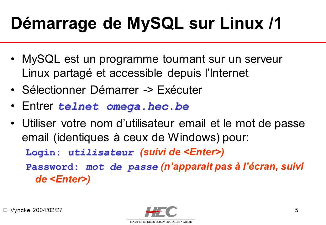 Démarrage de MySQL sur Linux /1